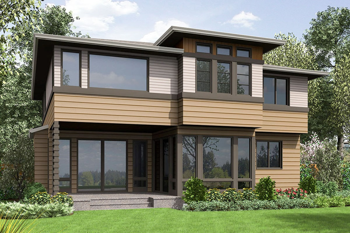 Rear rendering of the two-story 4-bedroom prairie style home.