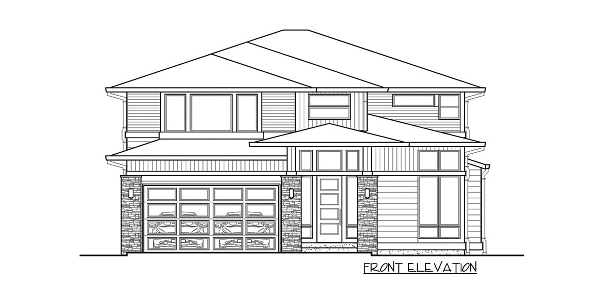Front elevation sketch of the two-story 4-bedroom prairie style home.