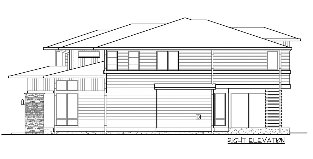 Right elevation sketch of the two-story 4-bedroom prairie style home.