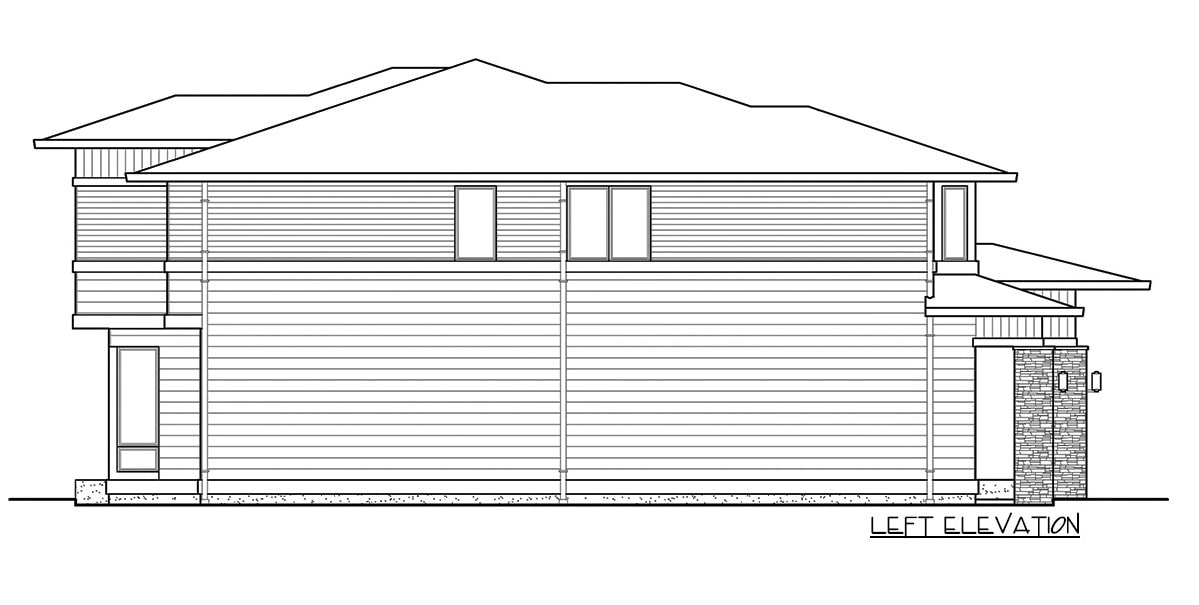 Left elevation sketch of the two-story 4-bedroom prairie style home.