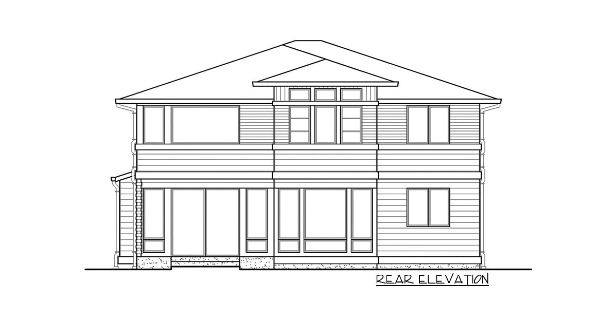 Rear elevation sketch of the two-story 4-bedroom prairie style home.
