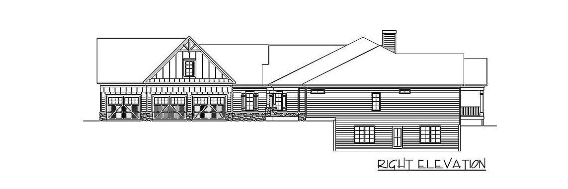 Right elevation sketch of the two-story 4-bedroom ranch.