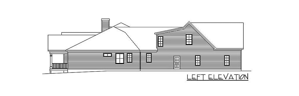 Left elevation sketch of the two-story 4-bedroom ranch.