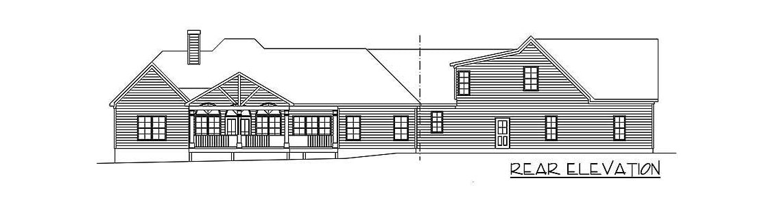 Rear elevation sketch of the two-story 4-bedroom ranch.
