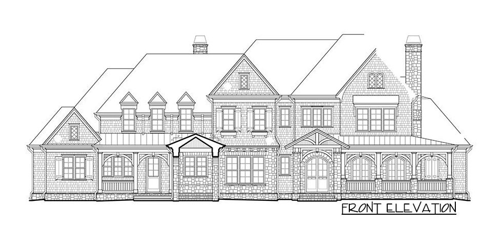 Front elevation sketch of the two-story 4-bedroom shingle-style home.
