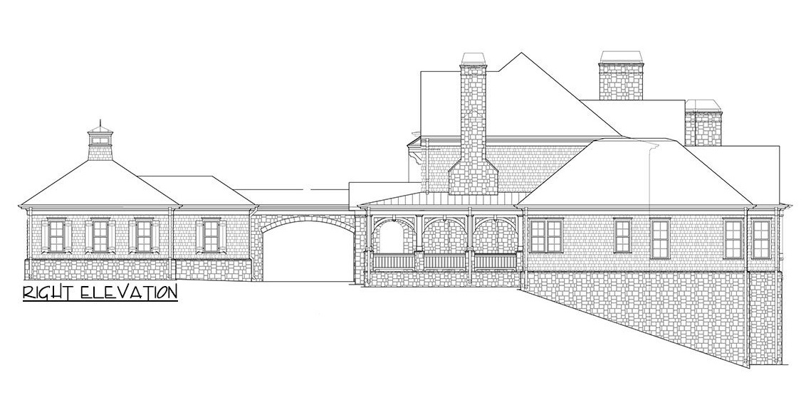Right elevation sketch of the two-story 4-bedroom shingle-style home.