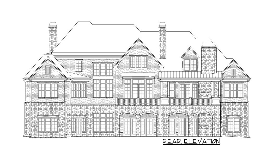 Rear elevation sketch of the two-story 4-bedroom shingle-style home.