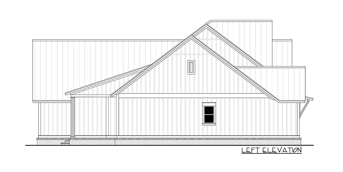 Left elevation sketch of the two-story 4-bedroom traditional home.