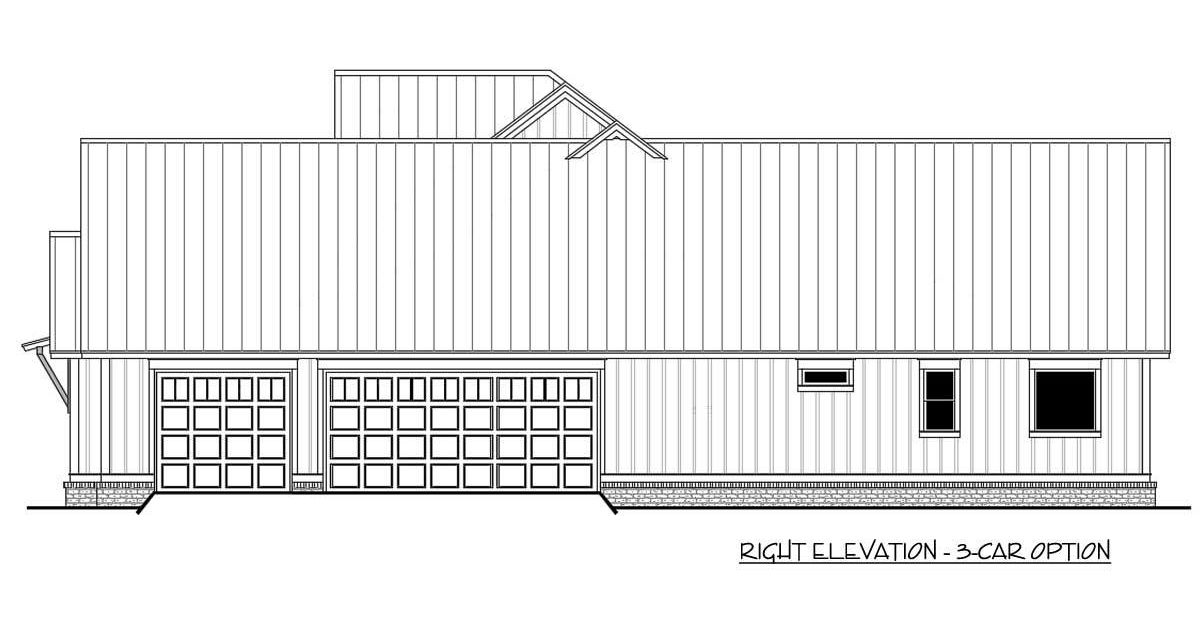 Right elevation sketch with three-car garage option.