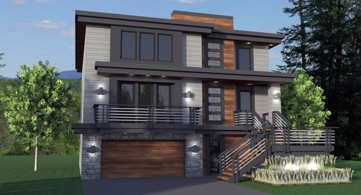 Front rendering of the two-story 5-bedroom modern home.