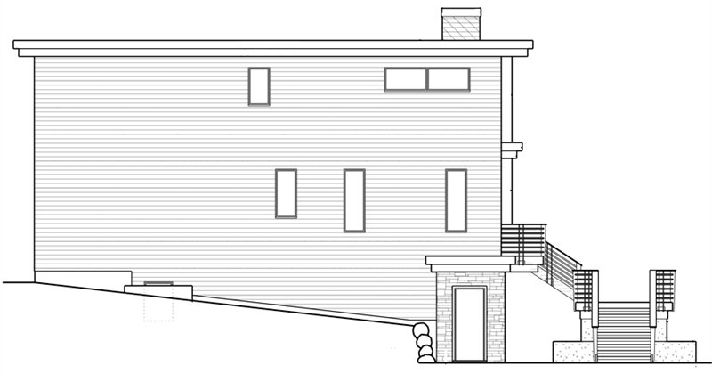 Side elevation sketch of the two-story 5-bedroom modern home.