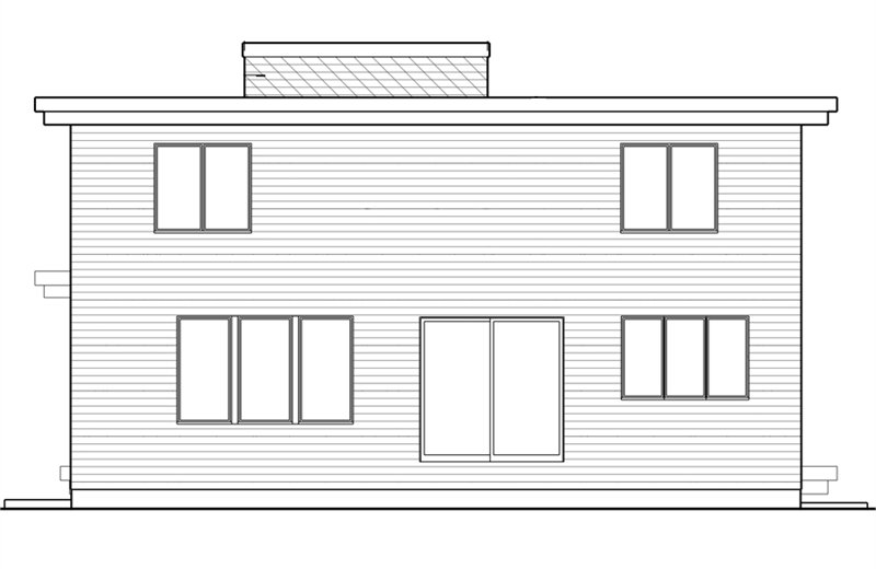 Rear elevation sketch of the two-story 5-bedroom modern home.