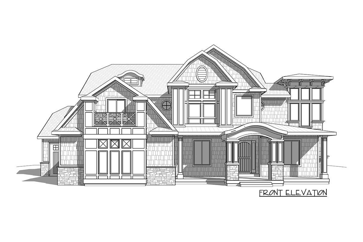 Front elevation sketch of the two-story 7-bedroom exclusive shingle home.