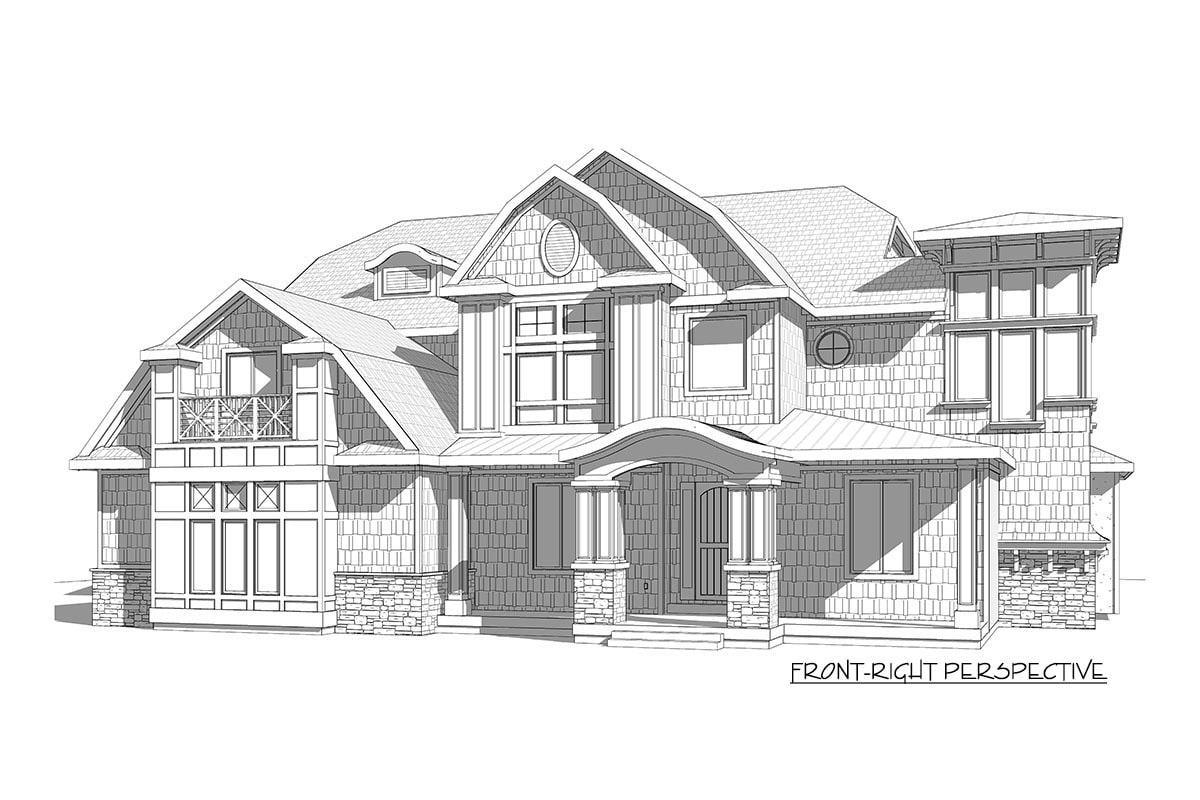 Front-right elevation sketch of the two-story 7-bedroom exclusive shingle home.