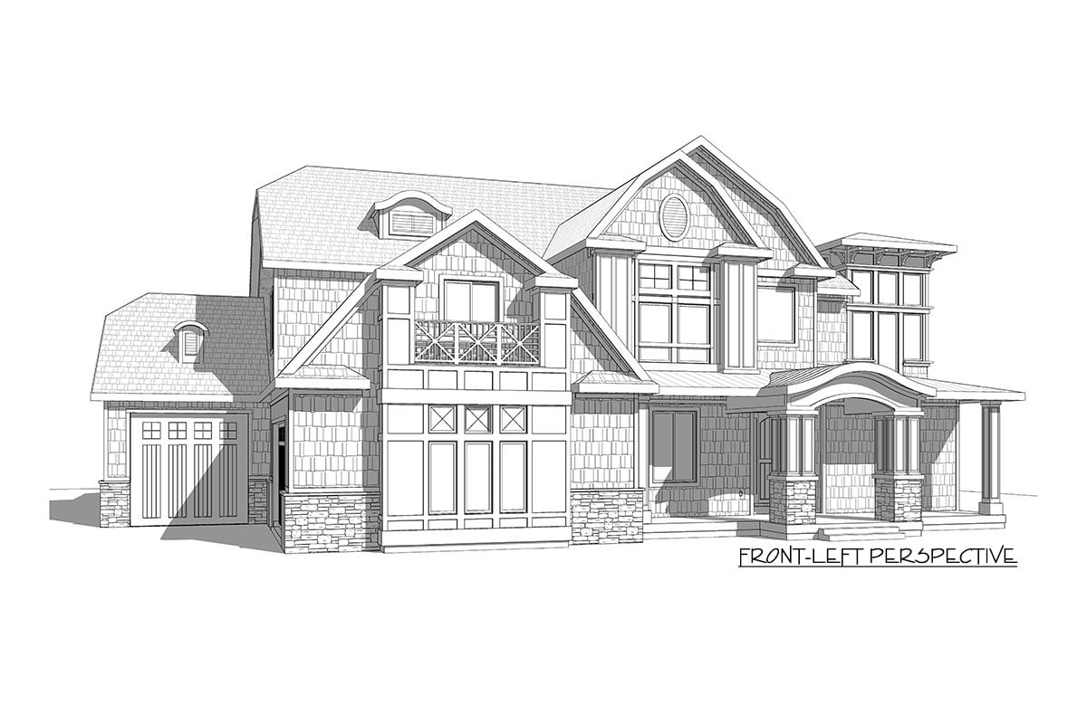 Front-left elevation sketch of the two-story 7-bedroom exclusive shingle home.