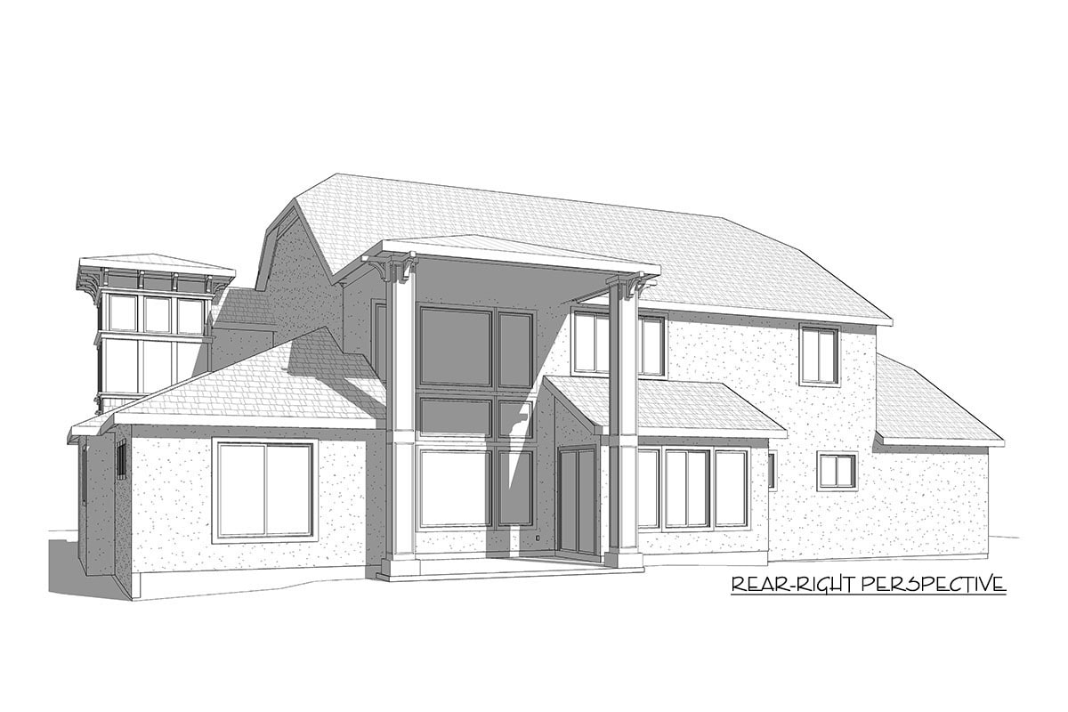 Rear-right elevation sketch of the two-story 7-bedroom exclusive shingle home.