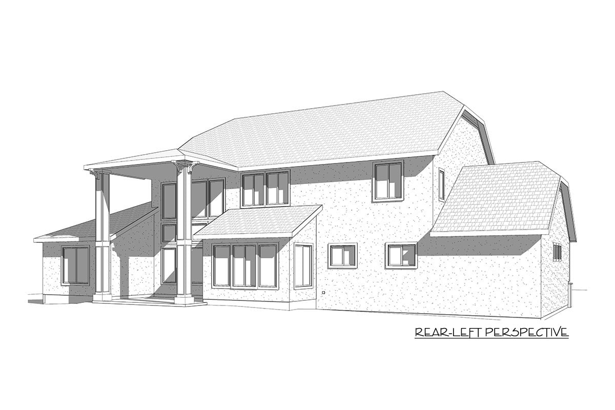 Rear-left elevation sketch of the two-story 7-bedroom exclusive shingle home.