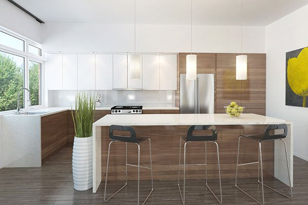 White and wooden cabinets, granite countertops, and a center island lined with metal bar stools complete the kitchen.