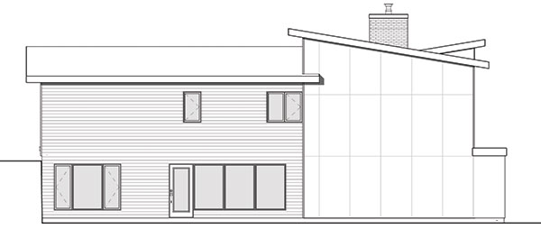 Rear elevation sketch of the two-story modern 4-bedroom Laeticia home.