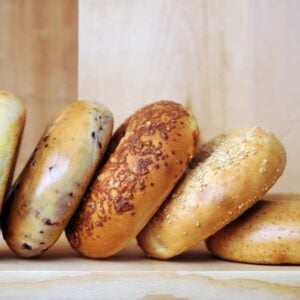 A close look at a row of different bagels.