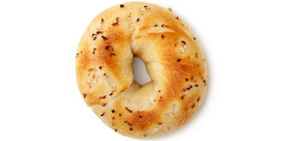 A freshly-baked onion bagel.