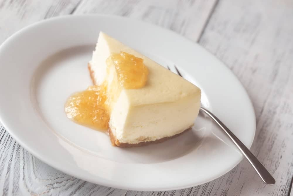 A slice of Chicago-style cheesecake.