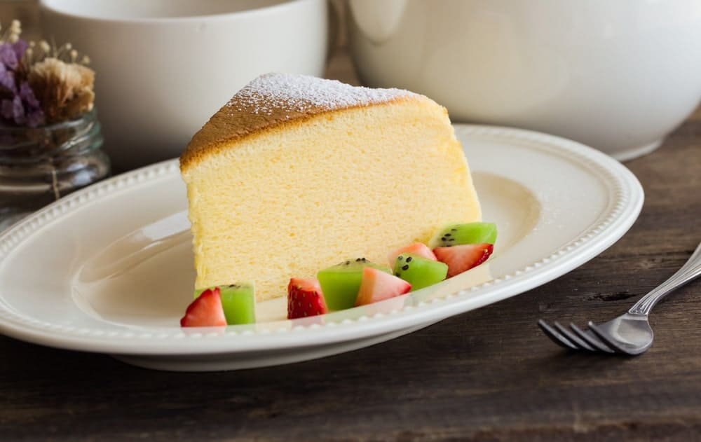A slice of soft and fluffy Japanese cheesecake.
