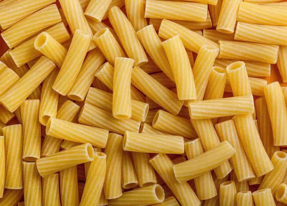 A close look at a bunch of Tortiglioni pasta.