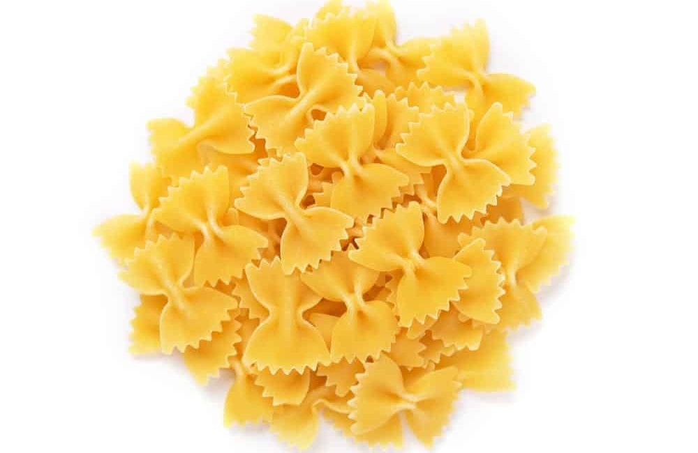 A close look at a bunch of Farfalle pasta.