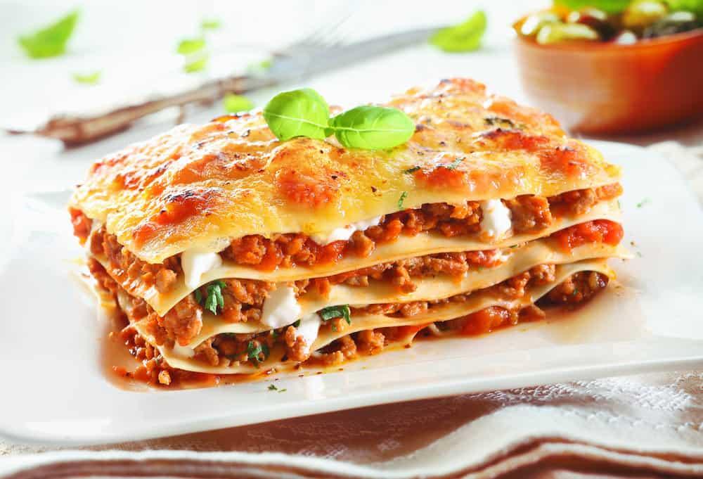 A slice of freshly-baked lasagna.