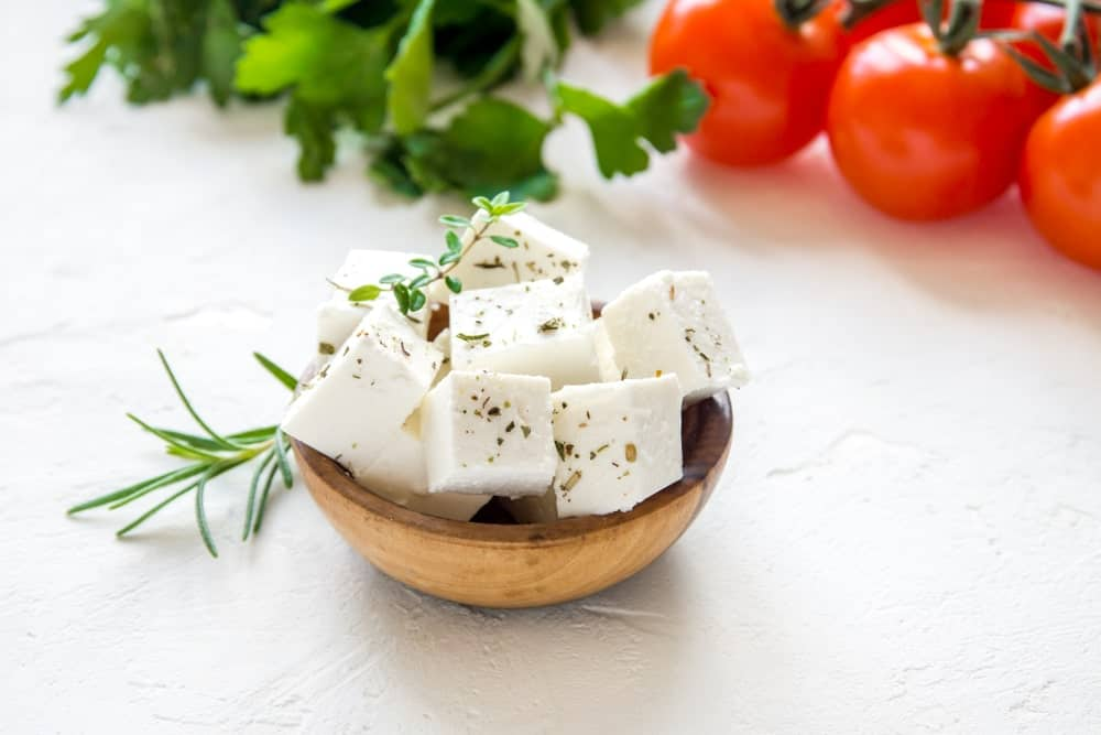 Cubes of Feta Cheese in a bowl.