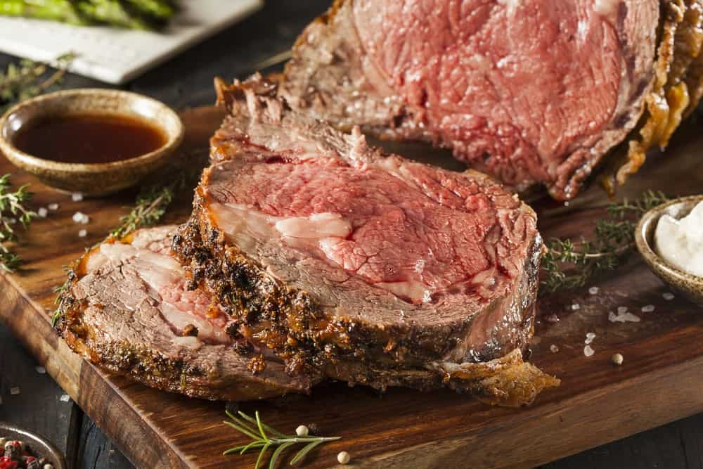 Pieces of prime rib steak roasted with garlic and hebs.