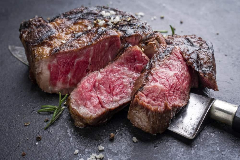 A piece of sliced Wagyu steak.