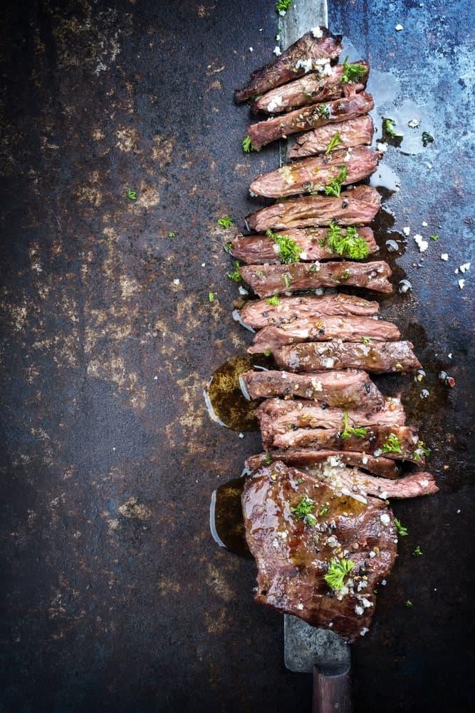 A piece of sliced skirt steak.