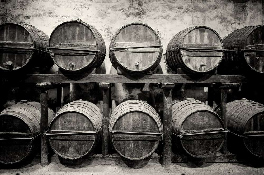 Barrels of whiskey in storage.