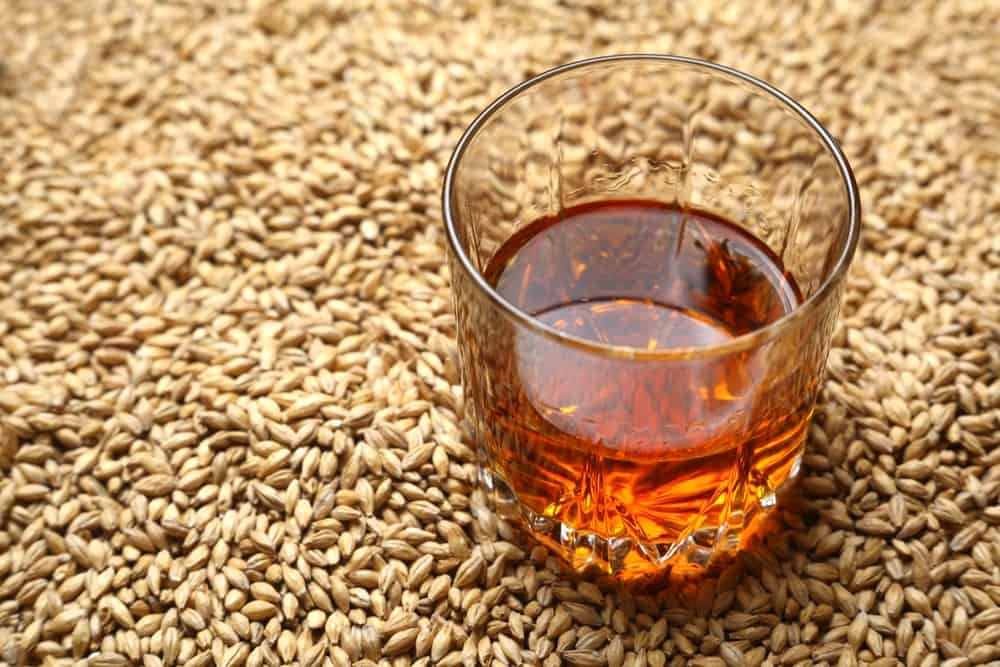 A glass of grain whiskey.