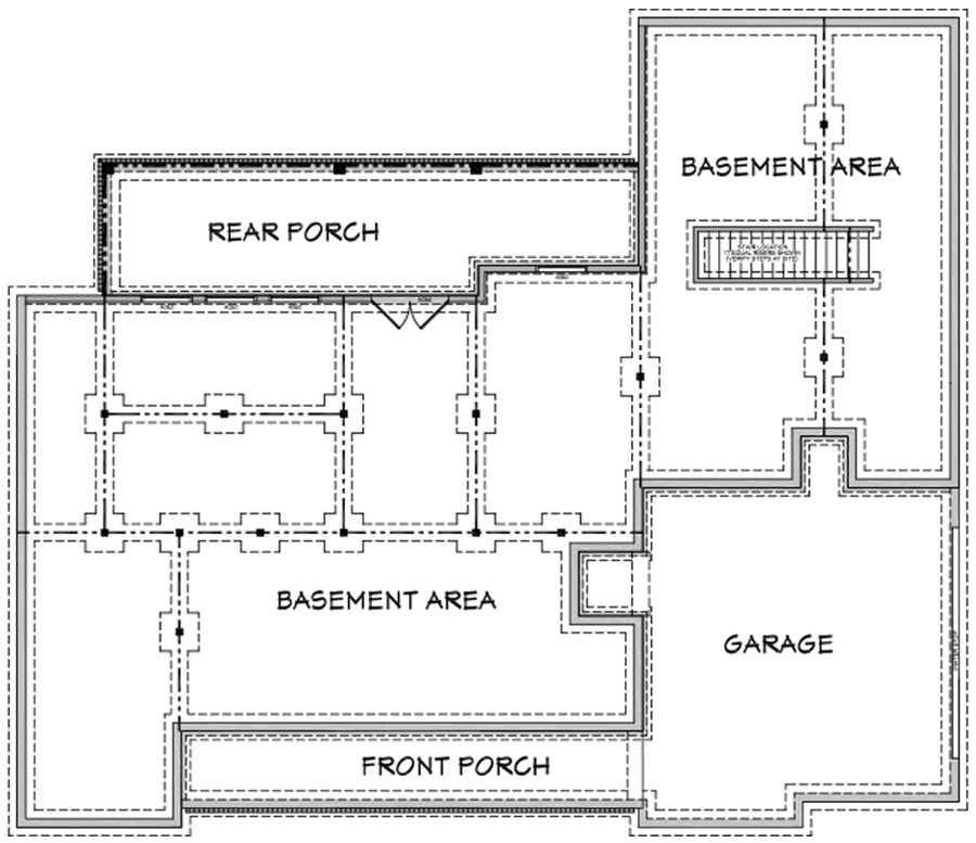 Unfinished basement floor plan with garage, front porch, and back patio.