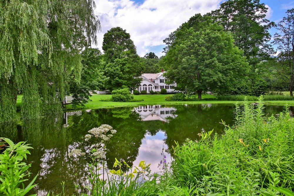 This is a close look at the large pond of the estate surrounded by tall trees. Image courtesy of Toptenrealestatedeals.com.