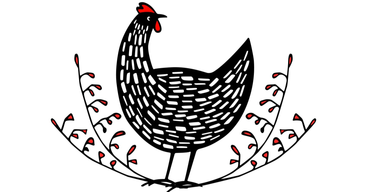 Ink drawing of a vintage chicken emblem.
