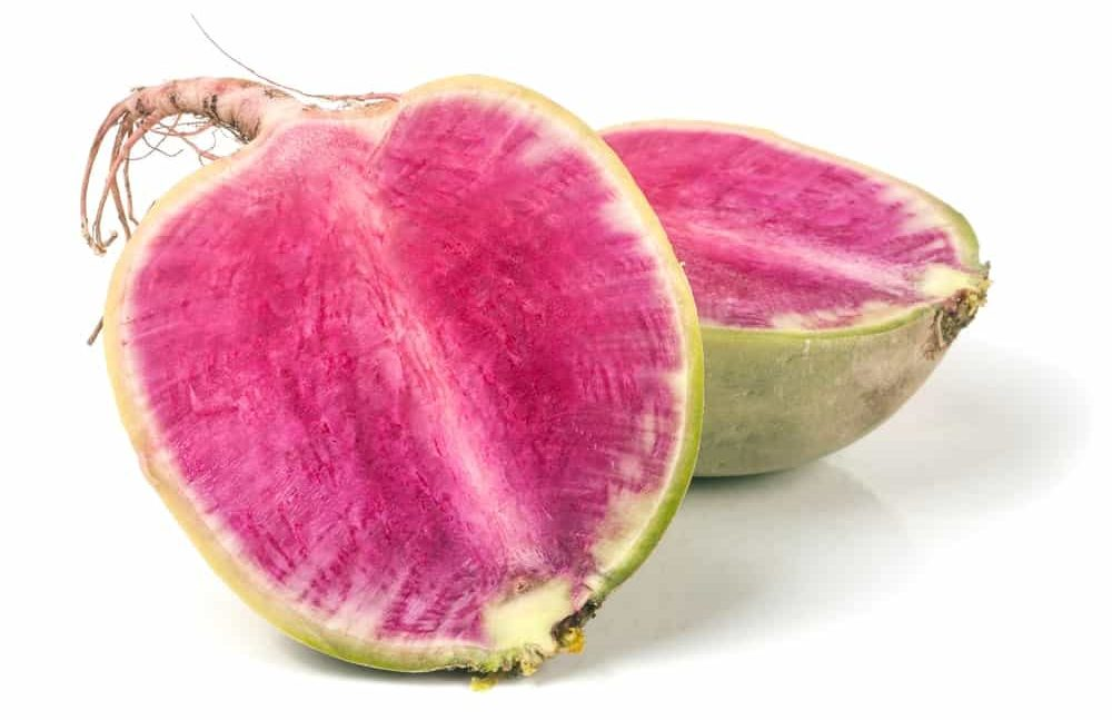 Watermelon radish cut in half.