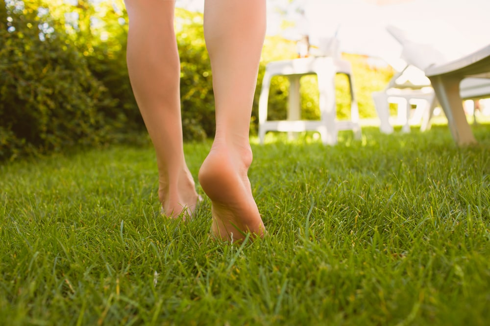 A woman walking barefoot on the well-maintained grass lawn.