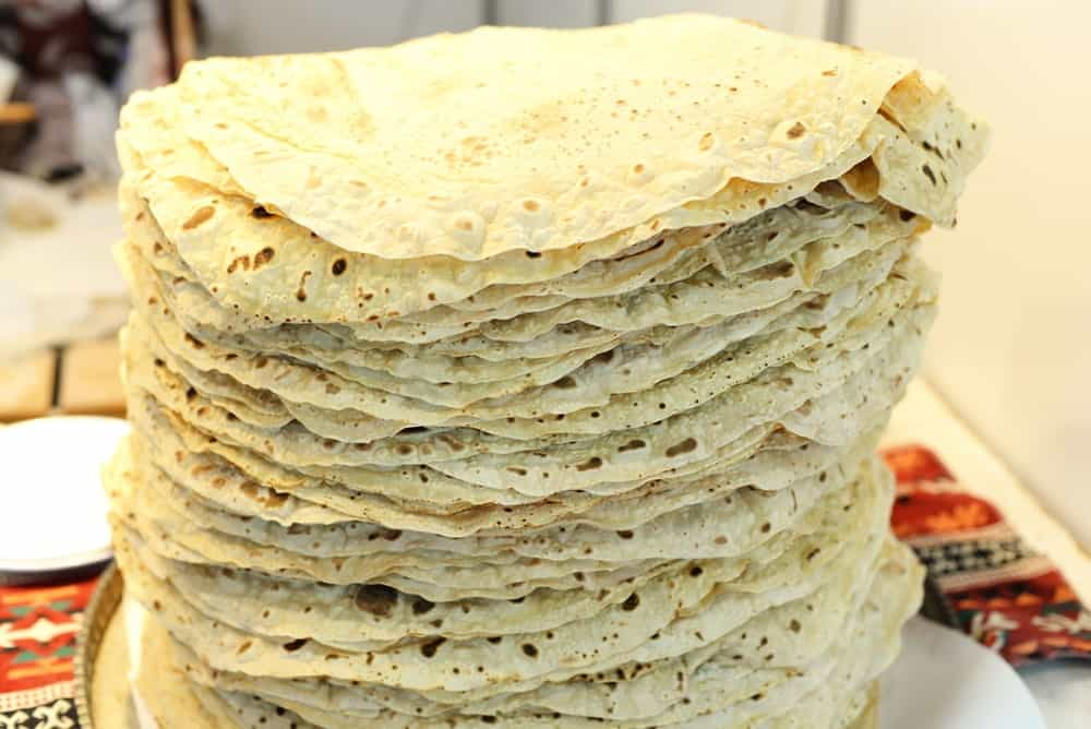 Stack of Yufka bread.