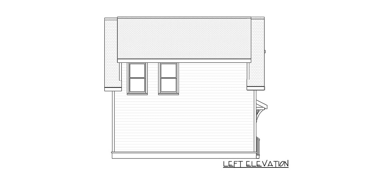 Left elevation sketch of the 1-bedroom two-story carriage home.