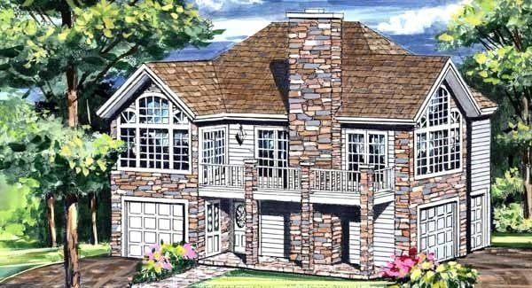 Front rendering of the 1-bedroom two-story Highpoint 2 cottage.