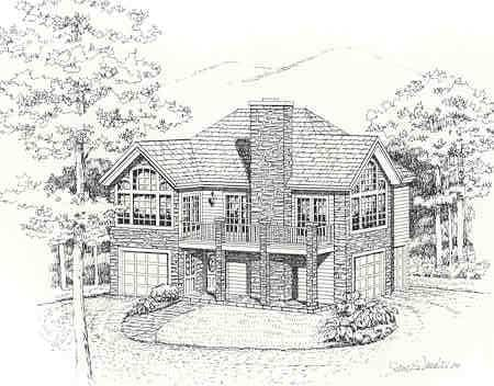 Front perspective sketch of the 1-bedroom two-story Highpoint 2 cottage.