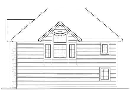 Rear elevation sketch of the 1-bedroom two-story Highpoint 2 cottage.