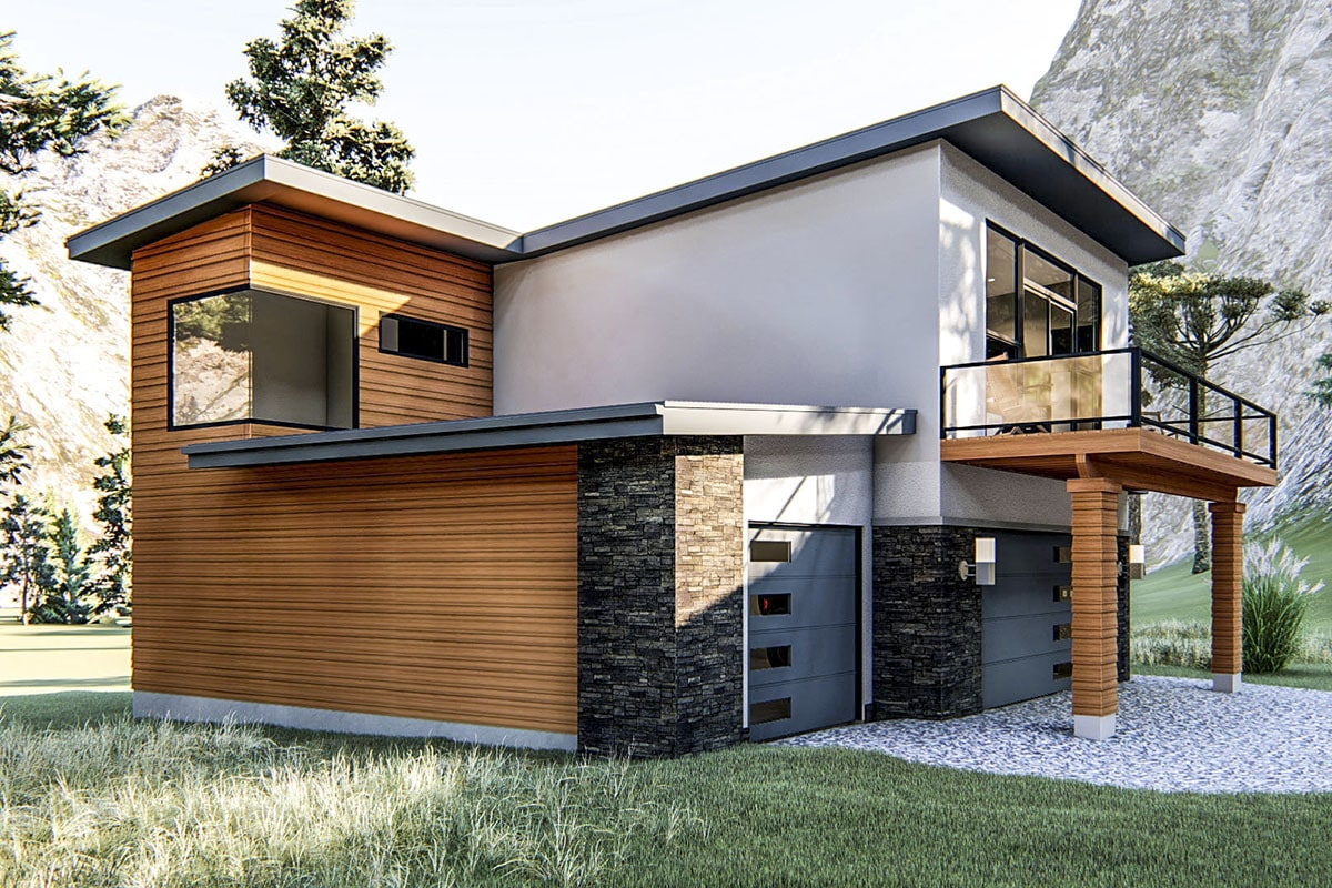 Angled front view with a three-car garage and a spacious deck supported by decorative columns.