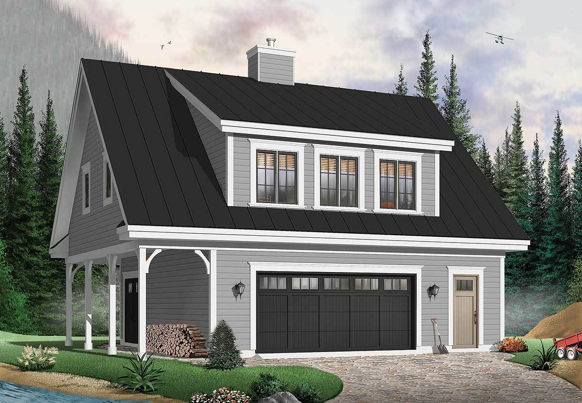 Front rendering of the 2-bedroom two-story carriage home.