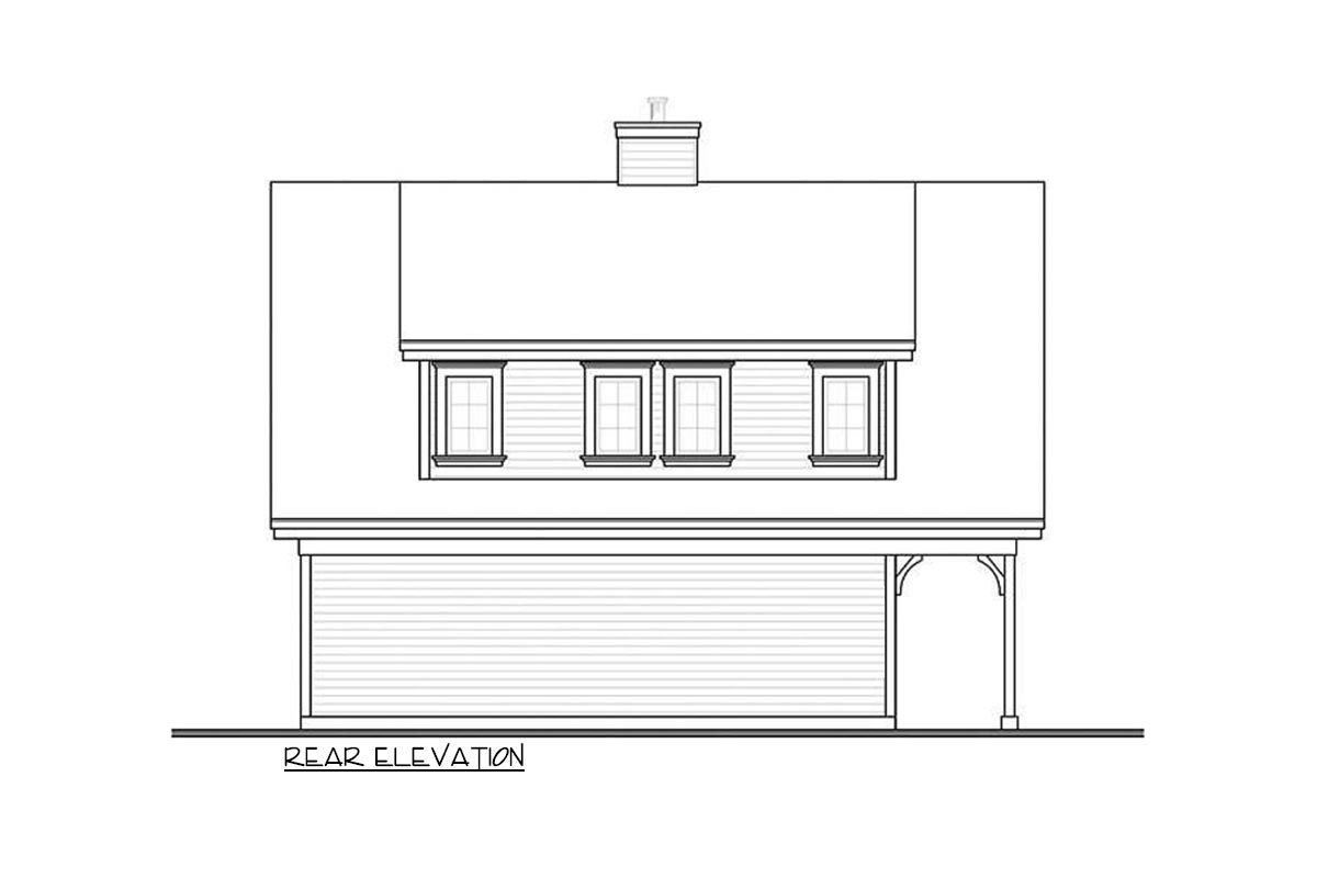 Rear elevation sketch of the 2-bedroom two-story carriage home.