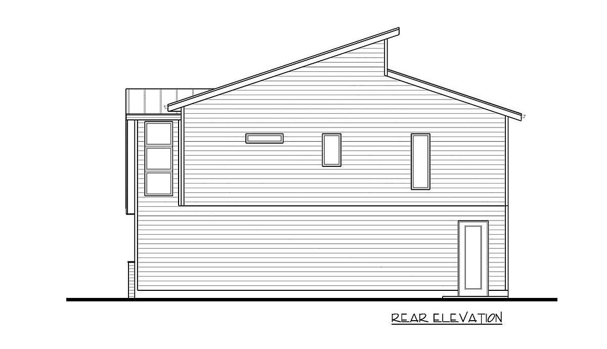Rear elevation sketch of the 2-bedroom two-story modern carriage home.